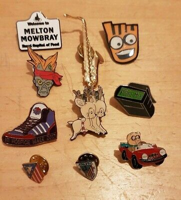 Collection of 10 different pin badges. Job Lot.