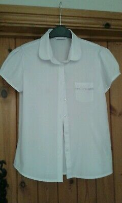 Girls M&S School Blouses White x2 Age 11-12 Years