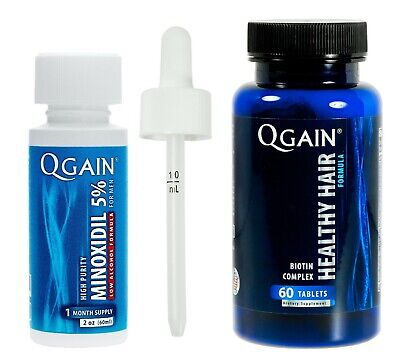 Qgain High Purity Minoxidil 5% LOW ALCOHOL for MEN 1 month supply 1 x 60mL
