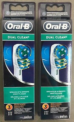 New 6x BRAUN ORAL B DUAL CLEAN TOOTHBRUSH REPLACEMENT BRUSH HEADS REFILL