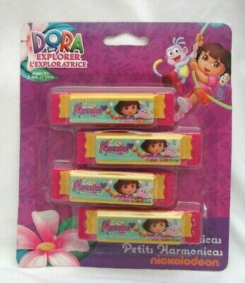"""Nickelodeon Dora The Explorer & Boots 3.375"""" Four Colorful Harmonicas-New!"""