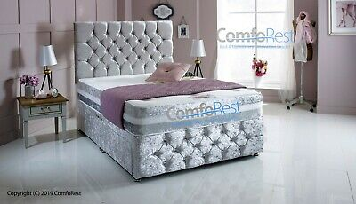 iMAX CRUSHED VELVET CHESTERFIELD DIVAN BED SET WITH MATTRESS AND HEADBOARD - UK