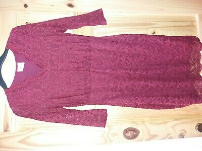 Mamalicious Breastfeeding Dress Size S Small Burgundy Lace