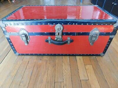 Antique Vintage Metal Steamer Trunk with Tray - RED Color