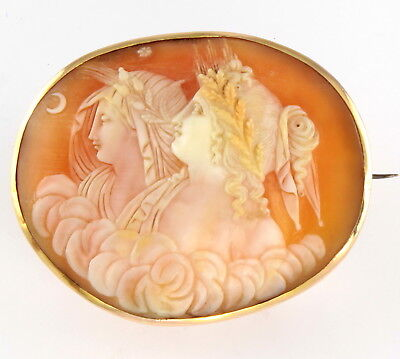 Large Antique Victorian 18Ct Gold Brooch With Cameo Of Day & Night