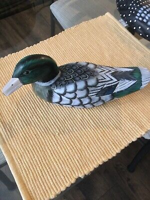 Vintage Hand Carved & Painted Wooden Duck Decoy