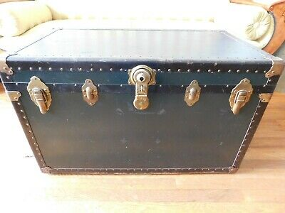 Antique Vintage Metal Steamer Trunk with Tray - Dark Green Color