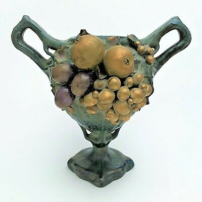 Art Nouveau Turn-Teplitz Austria Amphora Vase with Applied Fruit Motif