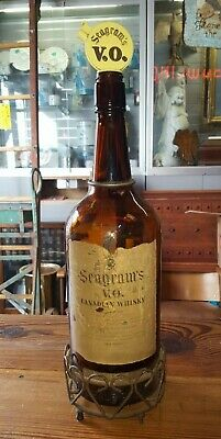 1940's Seagram's V.O. Canadian Whisky 1/2 Gallon Display Bottle In Iron Stand