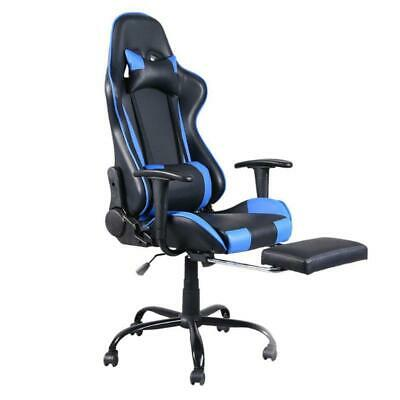 Video Racing Gaming Chair PU Leather Office Swivel Recliner Footrest Ergonomic