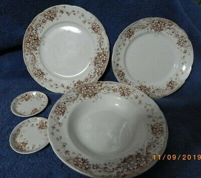 5 Matching Antique Brown Transferware Butter Pats, Plates, Bowl by JHW & Sons