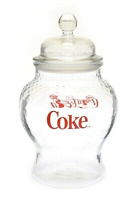 "Vintage Looking Coca Cola COKE Glass Soda Fountain Style Jar w/ Lid 10"" Dimple"