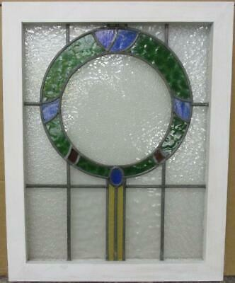 "MIDSIZE OLD ENGLISH LEADED STAINED GLASS WINDOW Pretty Wreath 20.25"" x 25.5"""