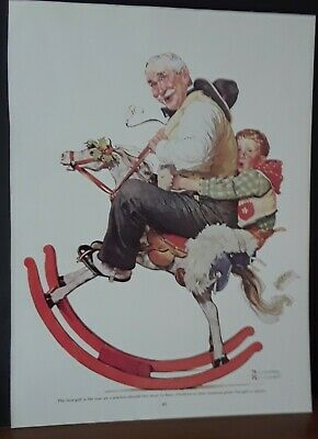 "Norman ROCKWEL --""GRAMPS on ROCKING HORSE""- CHRISTMAS HOLIDAY ART PRINT-- 9 x 12"