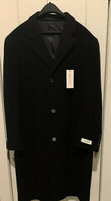 Calvin Klein Mens Black Wool And Cashmere Blend Overcoat Brand New With Tags