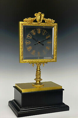 Rare French Robert Houdin Square Glass Dial Double Hands Mystery Mantle Clock