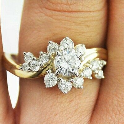 Goegeous 18k Yellow Gold Plated Women Ring White Sapphire Wedding Ring Size 6-10