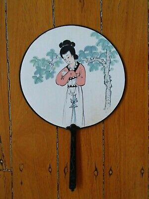 Vintage Hand Painted Round Rigid Japanese Hand Fan