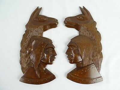 Pair of Native American Indian carved wood Wall plaques with Lima's Folk Art
