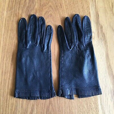 Quality Pair Of Vintage Navy Leather Gloves Size 7