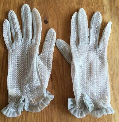 Pair Of Vintage Pale Grey Lacey Effect Gloves 1950's