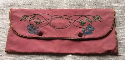 Beautiful Vintage Glove Case Pink Leather Flowers