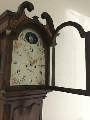 Longcase Grandfather Clock Chimes J Merrick Eton & Windsor Mahogany Moving Ship