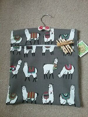 Handmade peg bag laundry pouch canvas type fabric with Alpaca Llama pattern