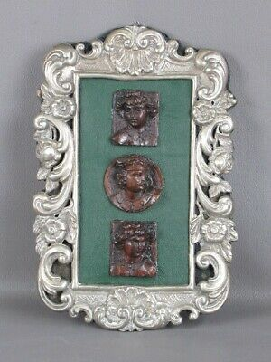 Elegant Frame Baroque with Ancient Miniature Heads Wooden Xx Century