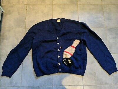 Amazing Vintage 1950s Novelty Sweater Jumper Cardigan Bowling Themed