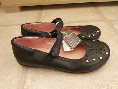 Gorgeous Brand New Girls Next Leather Black Butterfly School Shoes Size 3