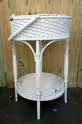 Antique Heywood Wakefield Round White Wicker Sewing Basket Work Table Stand Tag