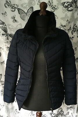 Size 14 George Navy Blue Zip Up Anorak With Faux Fur Collar