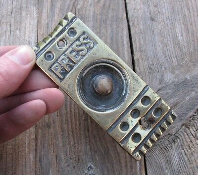 Genuine Antique Brass Door Bell Push / Press
