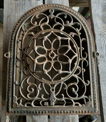 Ornate Antique Victorian Cast Iron HEAT REGISTER Cathedral Grate,Vent dome top