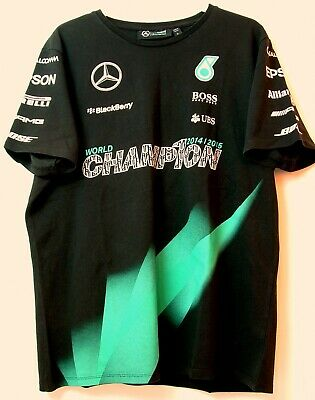 "AMG Mercedes Petronas F1 WO5 2015 World Champion T'Shirt ""L"" Unworn & Mint RARE"