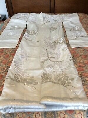 Japanese Vintage wedding kimono, Cream Silk With Cranes
