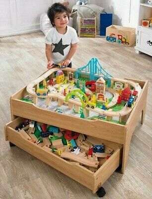 Wooden Train Table & City, Reversible with Drawer, Kids Boys Girls Toy Train Set