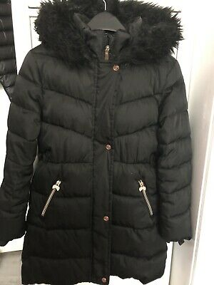 Girls Ted Baker Black With Rose Gold Trim Coat Age 11 Years
