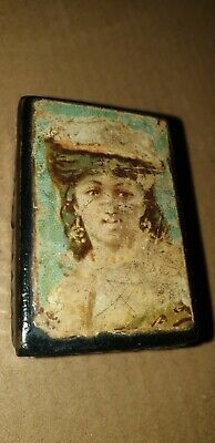Antique Early 19Th Century Papier Mache French Snuff Box With Young Lady Profile