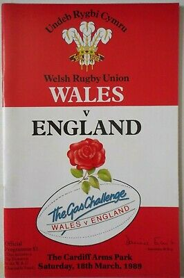 1989 WALES v ENGLAND RUGBY UNION PROGRAMME with TICKET