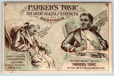 Parker's Tonic*Cures Consumption Coughs Asthma*Quackery*Victorian Trade Card