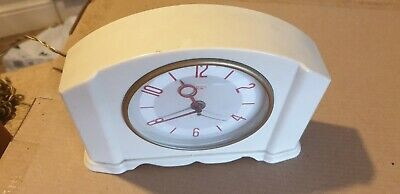 Rare Art Deco Smiths Sectric White Bakelite Clock With Red Hands And Numbers