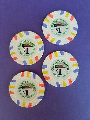 Four (4) Authentic $1 Casino Chips from Grand Casino in Gulfport, Mississippi