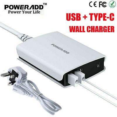 Fast 4 Multi-Port Quick Charge QC3.0 Type-C USB Hub Wall Charger Adapter UK Plug