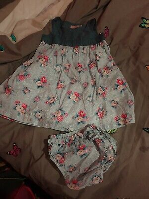 Cath Kidson Baby Girl Blue Pink Floral Dress Frilly Knickers outfit 12-18 Months