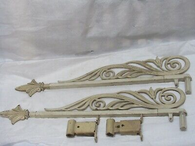 Antique Vintage 2 Ornate Cast Iron  Metal Swing Arm Curtain Rod With Brackets