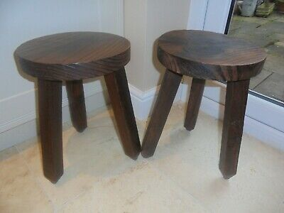 Pair of vintage French milking stools, 3 unscrewable legs, plant stand, rustic