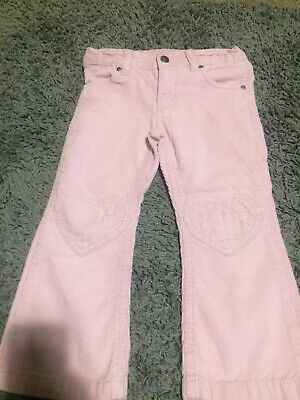 H&M Girls Pink Corded Trousers Age 3-4 Years With Adjustable Waist Very Cute