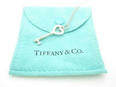 Tiffany & Co. Sterling Silver Small Heart Key Pendant Necklace 16""